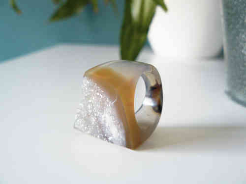 Achat-Ring, Gr. 55, Statement-Ring